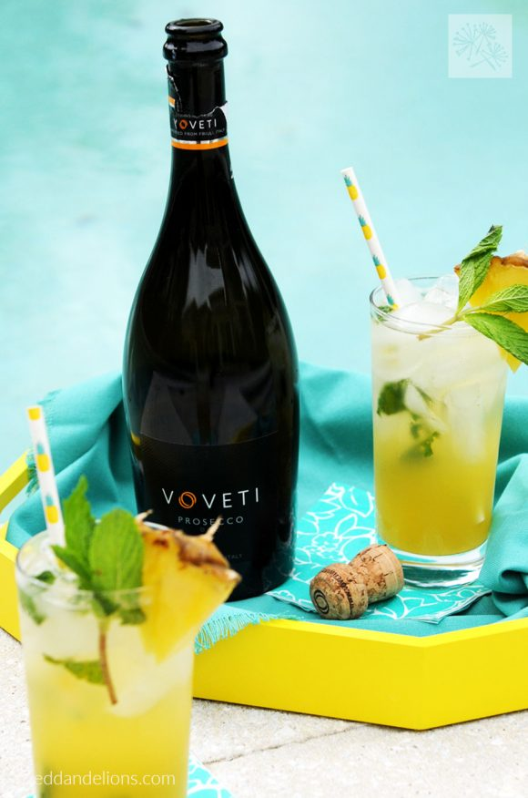 pineapple mojitos sitting by the side of the pool with Voveti prosecco