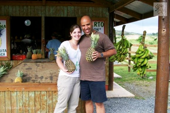Sarah and Irving at Lajas pineapple stand in Puerto Rico