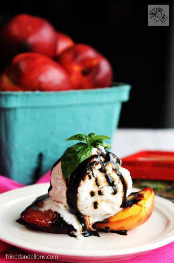 vanilla ice cream on grilled nectarines