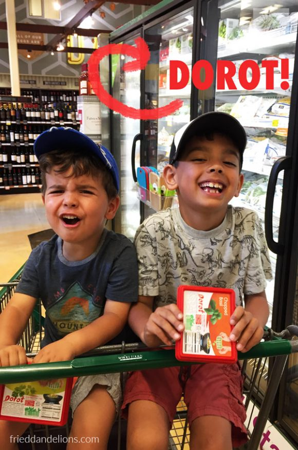 2 boys in grocery cart shopping for basil to go on top of grilled nectarines