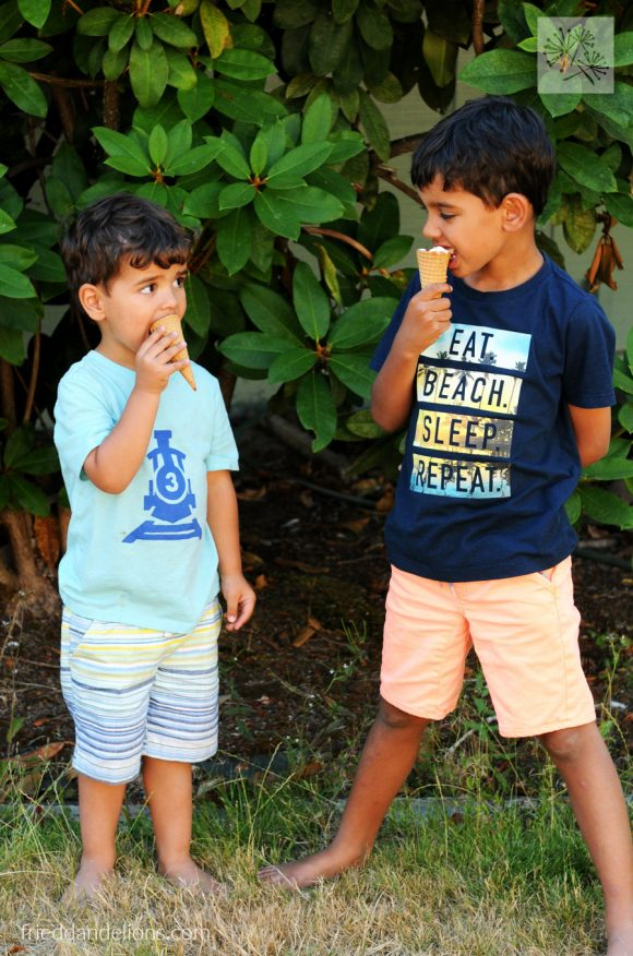 2 boys eating Campfire Cones