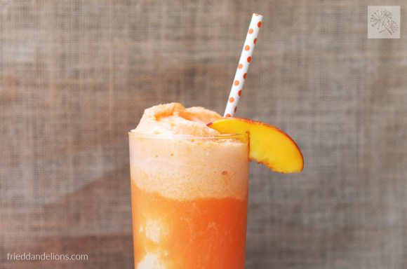 horizontal shot of Peaches and Cream Nice Cream Float