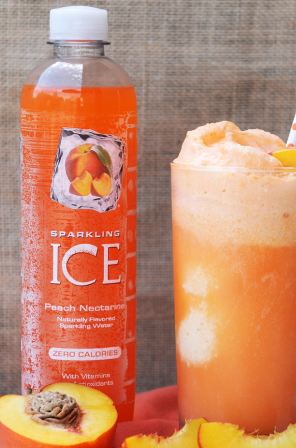 close up of Sparkling Ice bottle with Peaches and Cream Nice Cream Float off to the side