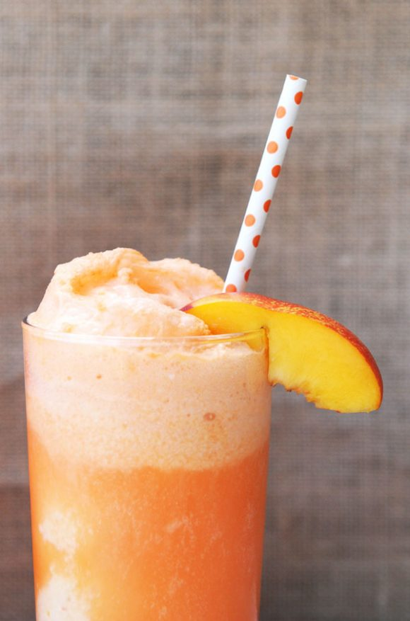 Close up of Peaches and Cream Nice Cream Float