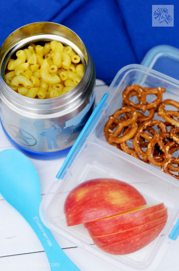overhead view of Back to School Lunches Mac & Cheese