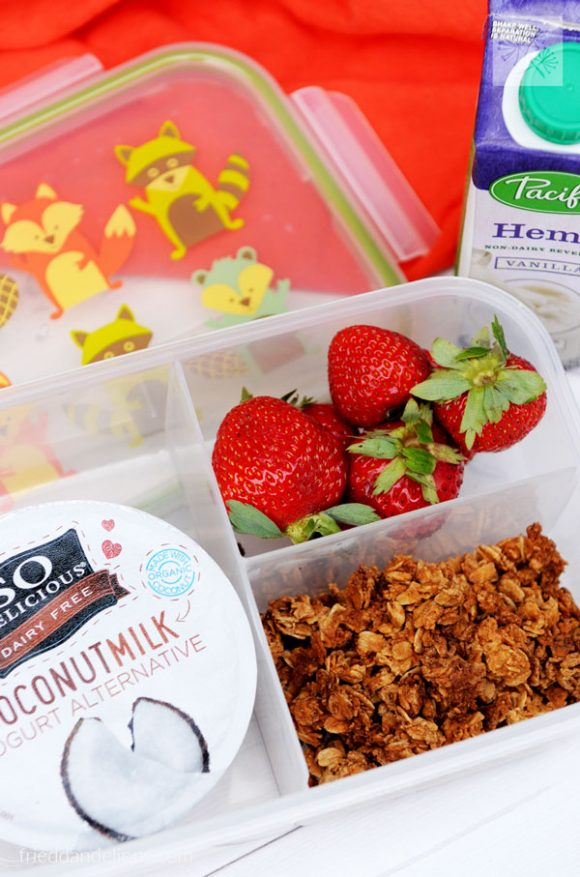 overhead view of Back to School Lunches breakfast box