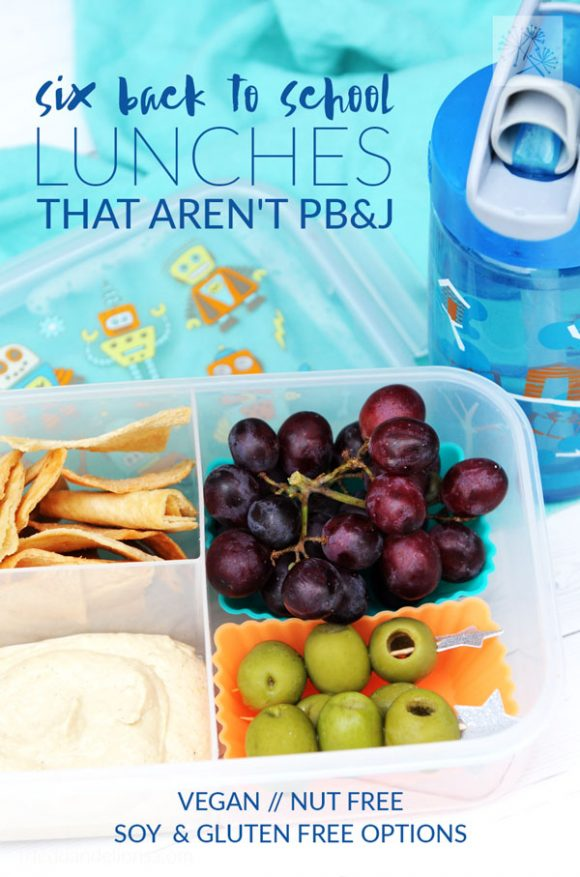 overhead view of Back to School Lunches with text