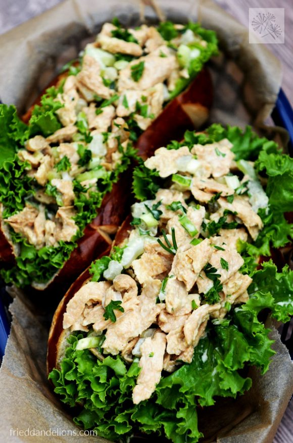 overhead view of Vegan Chicken Salad with Pickles sandwiches