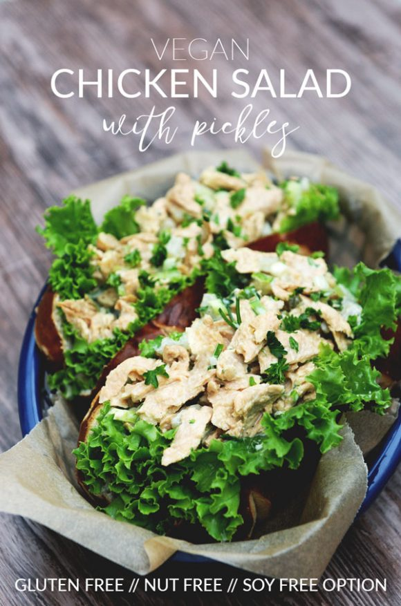 Vegan Chicken Salad with Pickles — gluten free, nut free, soy free option