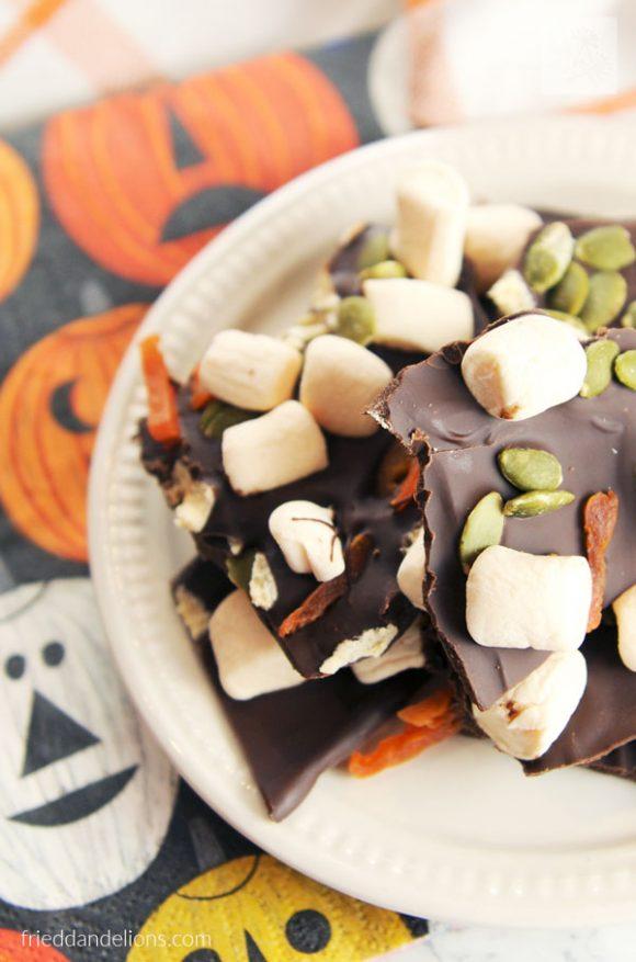 plate of Pumpkin Patch Chocolate Bark