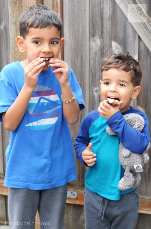 two boys eating Pumpkin Patch Chocolate Bark