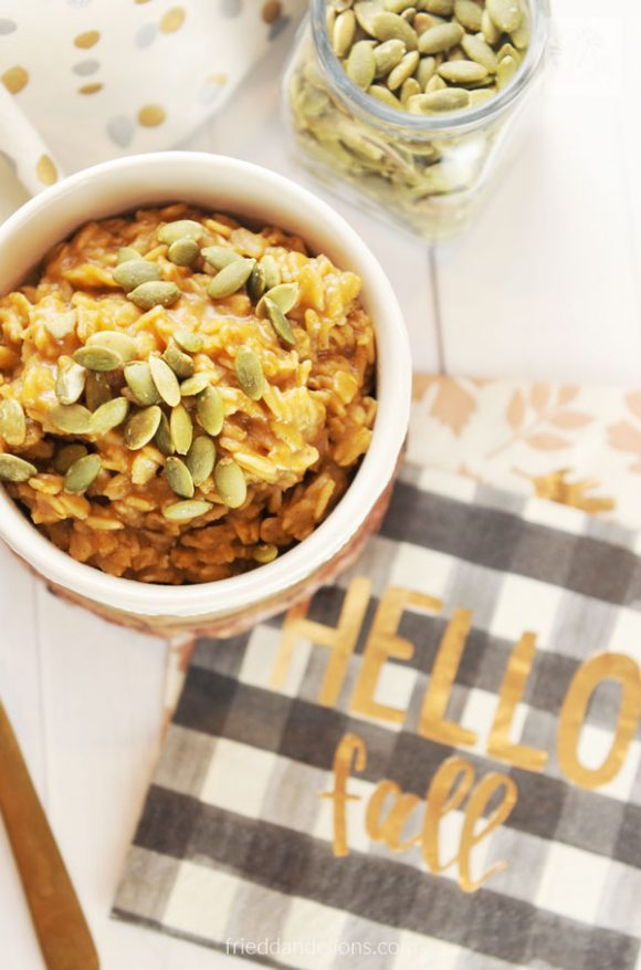 Pumpkin Spice Oatmeal with Hello Fall napkin