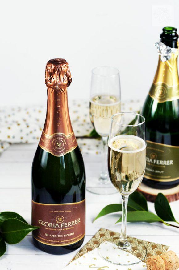 bottle of Gloria Ferrer Blanc de Noirs at appetizer party