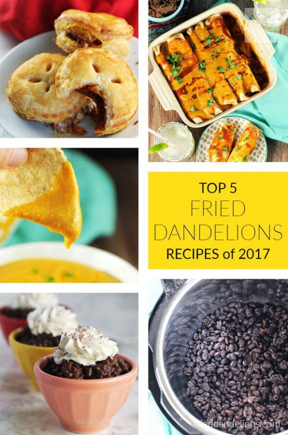 Top 5 Fried Dandelions Recipes 2017 — pizza bites, queso dip, chocolate tapioca pudding, jackfruit enchiladas, instant pot black beans