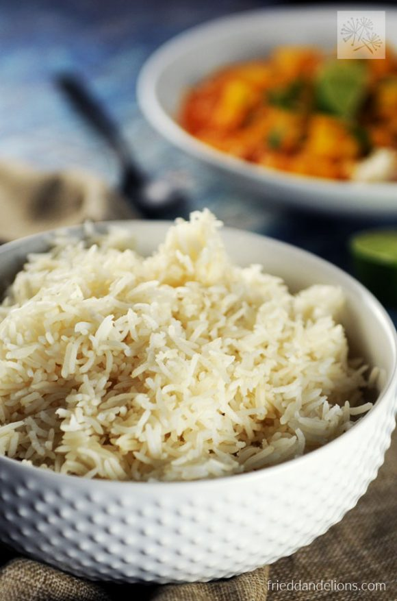 Instant Pot Basmati Rice with soup in background