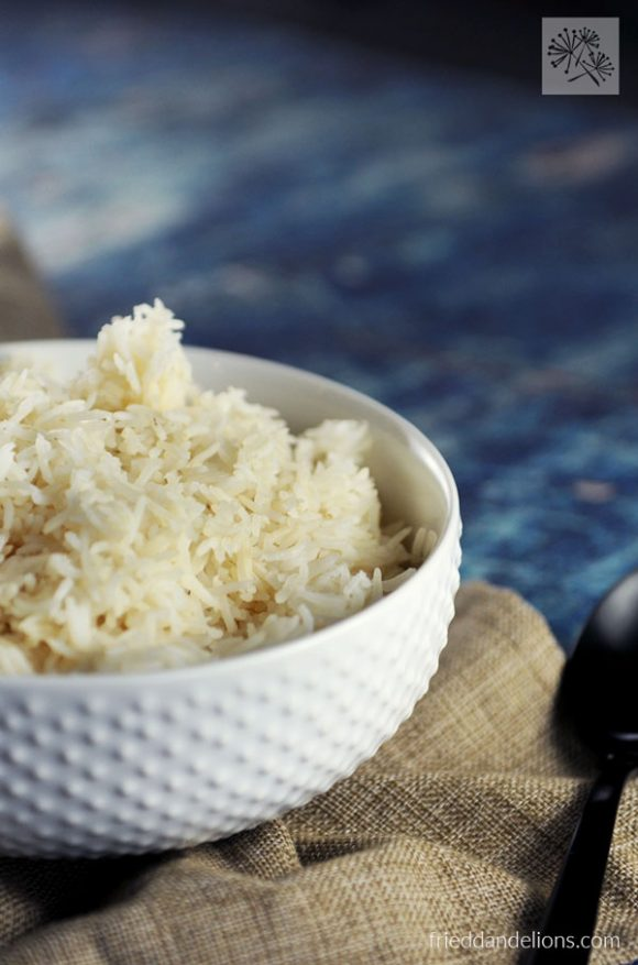 bowl of Instant Pot Basmati Rice with black spoon