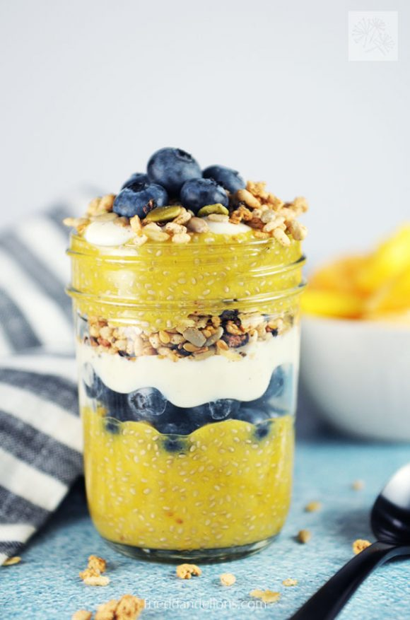 glass jar of Mango Chia Pudding Parfait