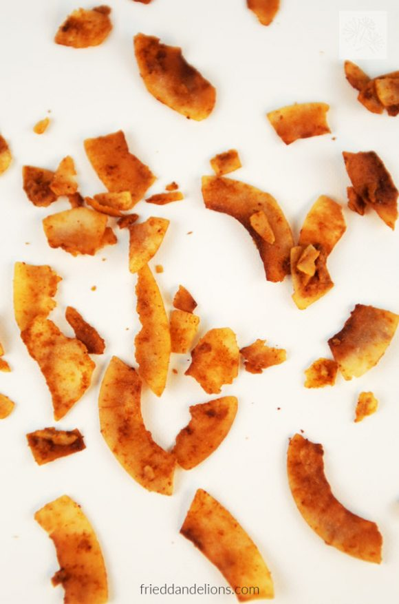 overhead view of coconut bacon sprinkled on white background