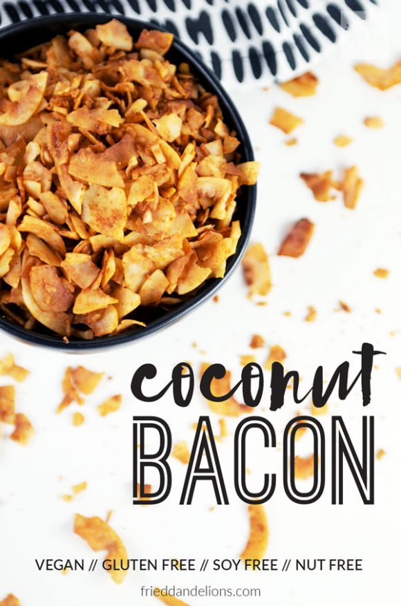 overhead shot of bowl of coconut bacon with text overlay