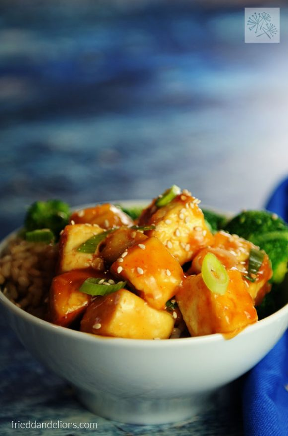 direct shot of sweet and sour tofu in white bowl with blue background