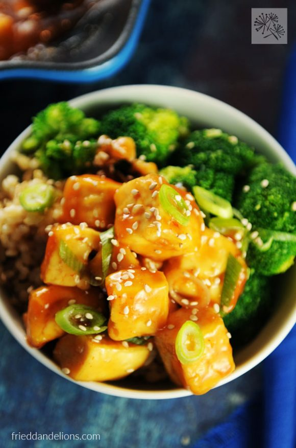 overhead shot of sweet and sour tofu with broccoli and rice