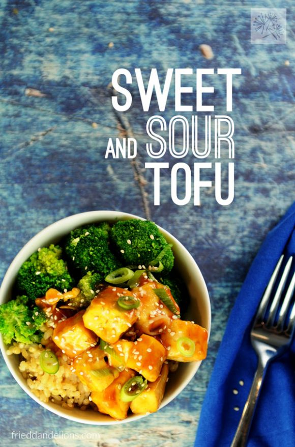 overhead shot of sweet and sour tofu on blue background with text overlay