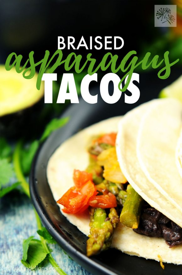 braised asparagus tacos with text overlay