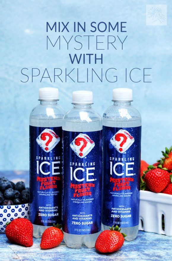 three bottles of Sparkling Ice Mystery Flavor with fruit in the background and text overlay