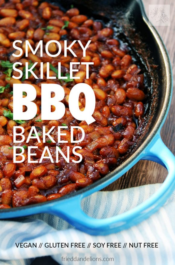 Overhead of skillet full of vegan baked beans with text overlay