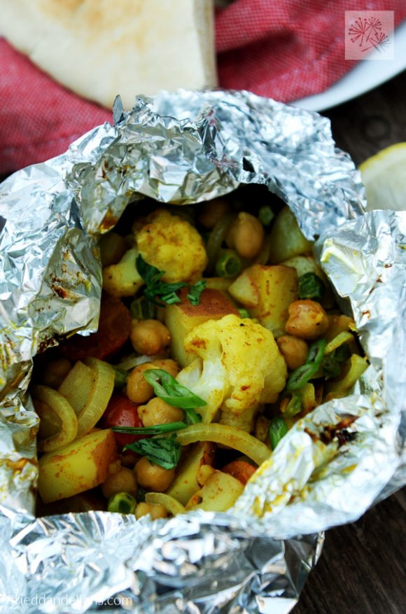 close up view of Cauliflower Curry Grill Packets from Vegan Yack Attack On The Go