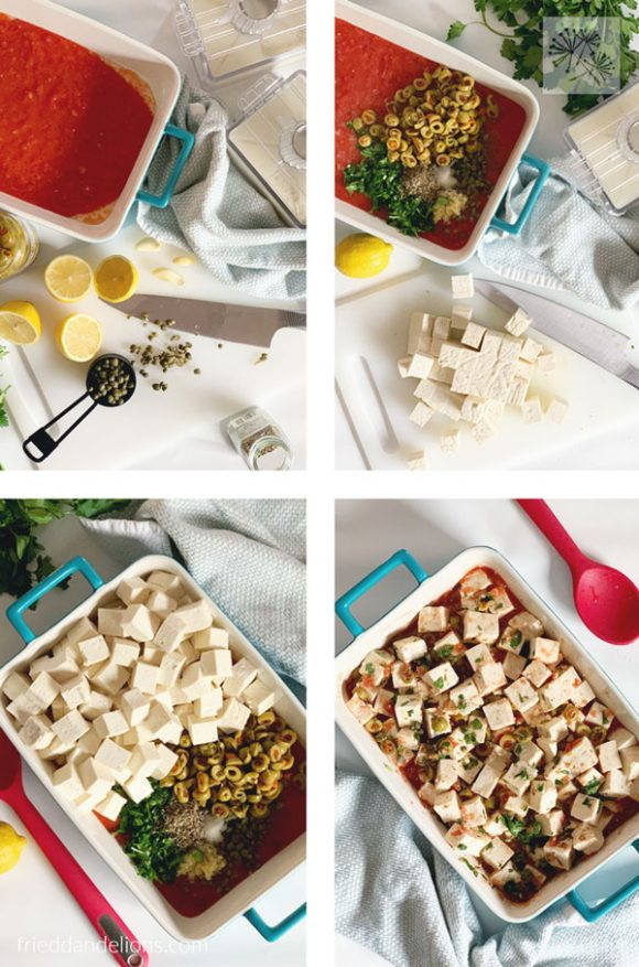 collage image of how to prepare baked tofu with tomatoes, lemon, and capers with blue baking dish, red spoon, and blue and white dishtowel