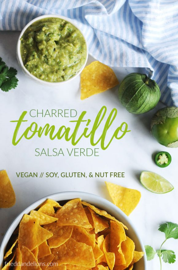 overhead shot of Charred Tomatillo Salsa Verde with Avocado with letter overlap, blue and white striped napkin, bowl of chips