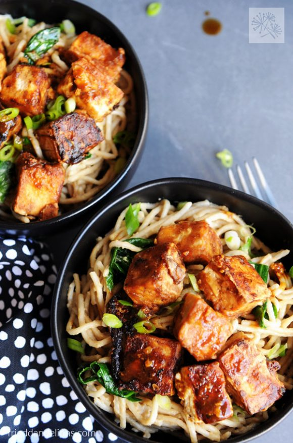 closeup of two black bowls of Fried Tofu with Hoisin and Peanut Sauce Noodles