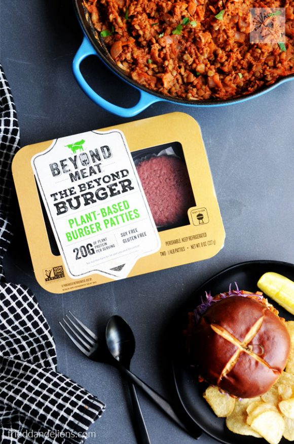 overhead view of Vegan Sloppy Joes with Lentils with package of Beyond Meat Beyond Burgers