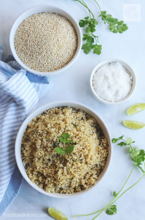 overhead shot of Instant Pot Quinoa with a bowl of dry quinoa and dry shredded coconut, cilantro, and lime wedges, and a blue and white napkin