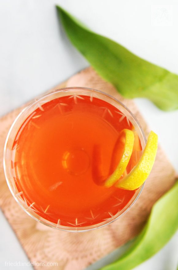 close up overhead of Rosé Vodka Cocktail with lemon twist and green tulip leaves