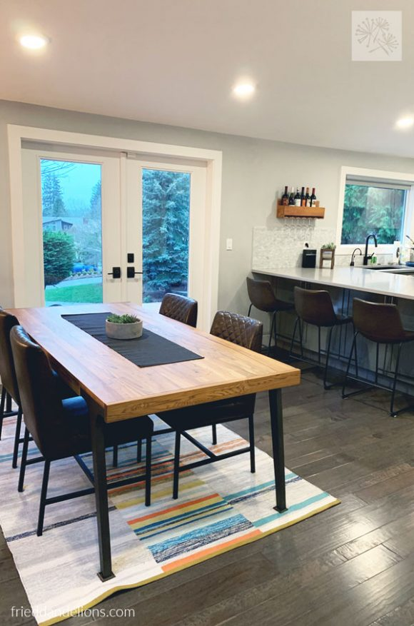 view of dining area in grey kitchen renovation