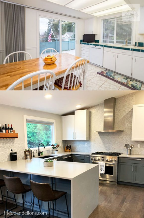 before and after of grey kitchen renovation with exposed range hood