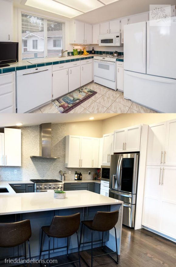 before and after of grey kitchen renovation with stainless steel fridge