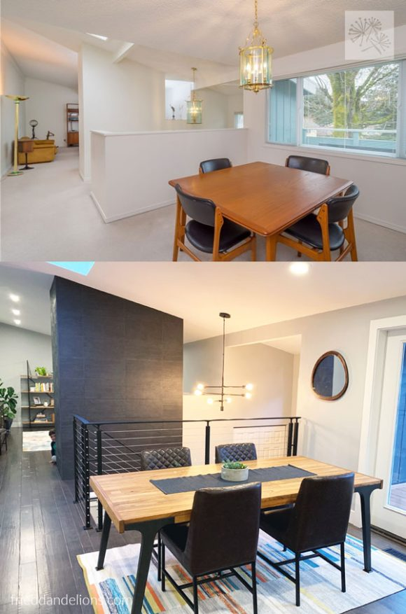 before and after of grey kitchen renovation with view of adjacent dining room
