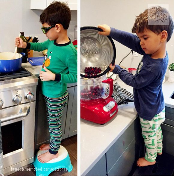 two young boys working in grey kitchen renovation