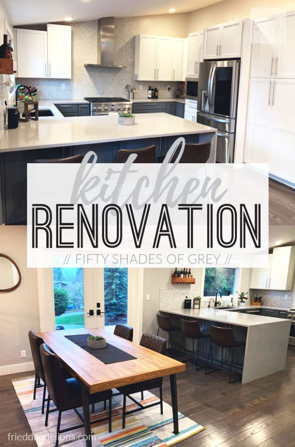 collage image of grey kitchen renovation with text overlay