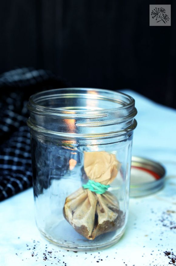 DIY Cold Brew Coffee Bags in a mason jar with a dark background
