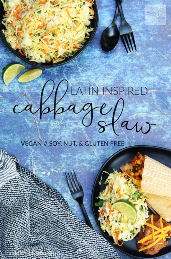 overhead view of cabbage slaw with blue background, black silverware, black plates, and text overlay