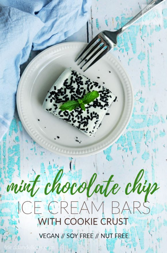 overhead shot of mint chocolate chip ice cream bars with fork, blue napkin, and blue and white rustic wood background