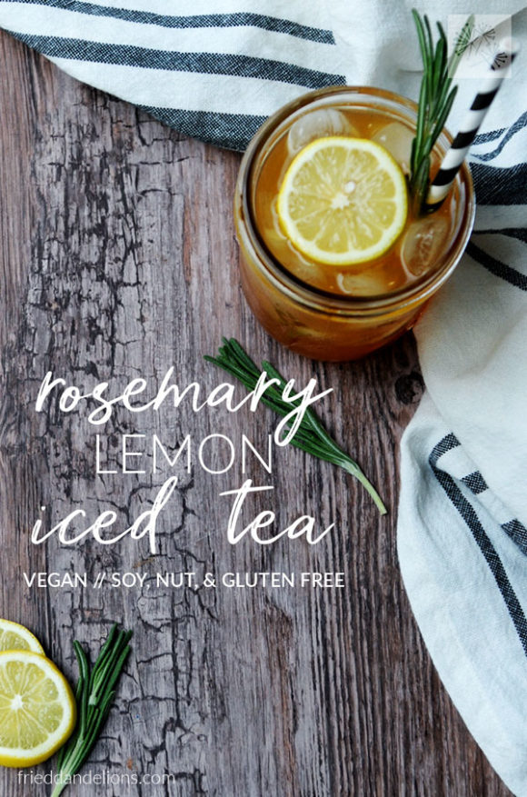 overhead view of jar of Rosemary Lemon Iced Tea on rustic wooden background with text overlay