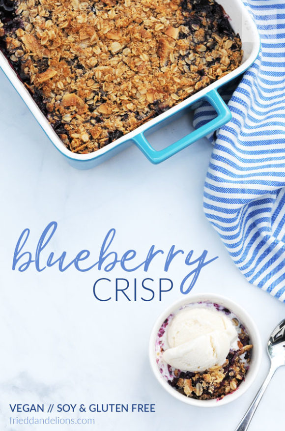 overhead shot of vegan blueberry crisp with blue and white striped napkin, small serving bowl, and spoon with text overlay