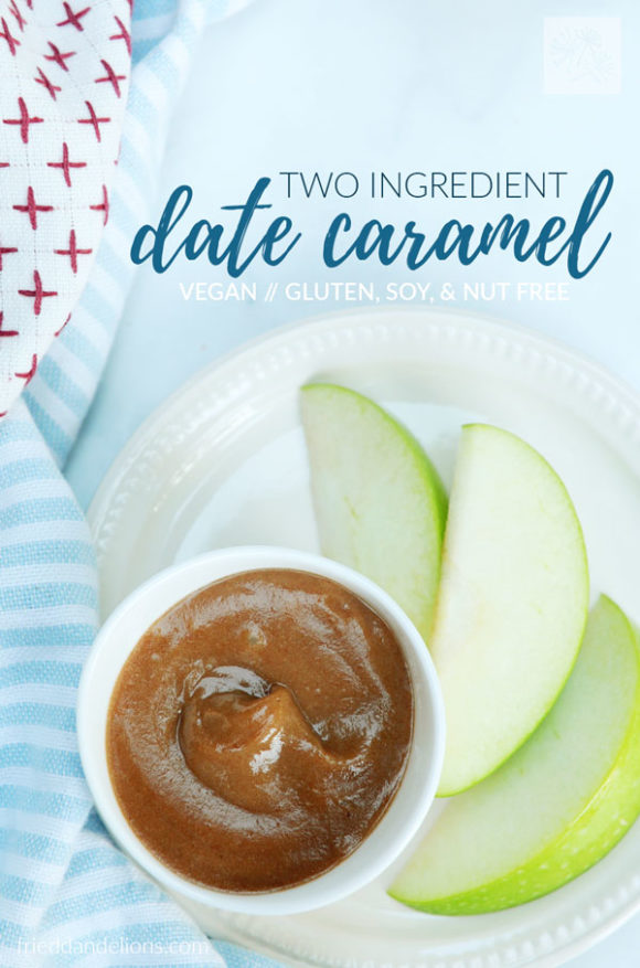 overhead shot of date caramel with granny smith apple slices, white plate, blue napkin, and text overlay