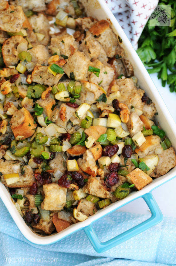 overhead view of baking dish of Traditional Vegan Stuffing