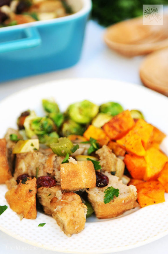 front view of plate of Traditional Vegan Stuffing
